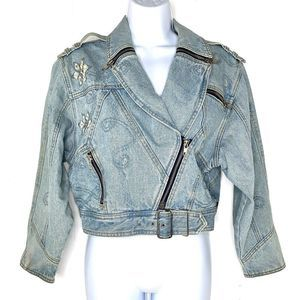Vintage Embellished Denim Jean Moto Jacket